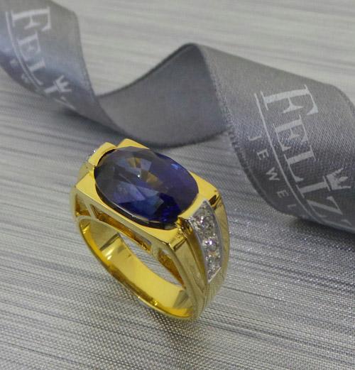 แหวนพลอยไพลินซีลอน ประดับเพชรแท้เบลเยี่ยมคัท RI20565-252