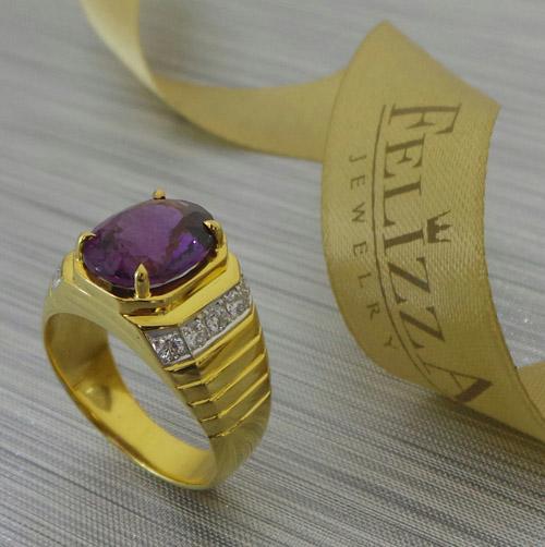 แหวนพลอยประดับเพชรแท้เบลเยี่ยมคัต RI20566-252
