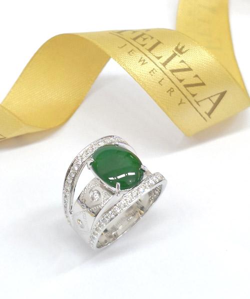 แหวนหยก (พม่า)ประดับเพชรแท้เบลเยี่ยมคัท RI00540-281