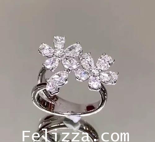 แหวนดอกไม้ เพชรแท้เบลเยี่ยมคัท MT-0001