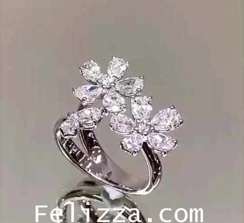 แหวนดอกไม้ เพชรแท้เบลเยี่ยมคัท MT-0001 1