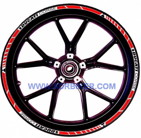 Sticker ขอบล้อ ขนาด17นิ้วสำหรับ Ducati 1198, 1098, 848 made in Italy