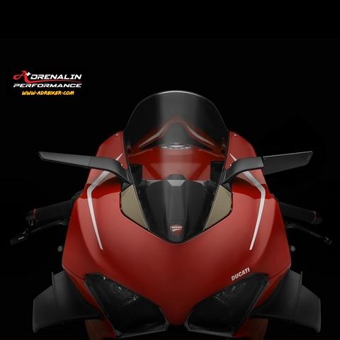 กระจกข้าง Rizoma รุ่น stealth ทำหน้าที่เป็นเหมือนสปอยเลอร์ สร้างแรงกด downforce สำหรับ V4
