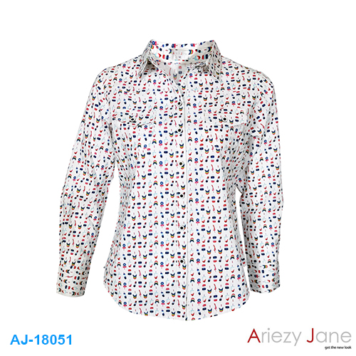 เสื้อเชิ้ต แขนยาว ลายไอติม AJ-18051