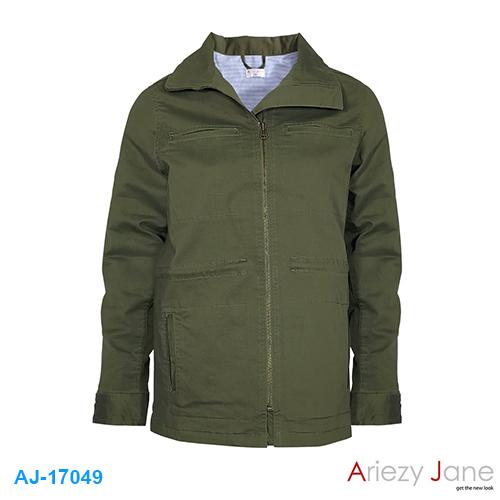 แจ็กเก็ต เขียว (ซับผ้ายืดริ้วเล็ก) AJ-17049