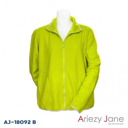 เสื้อคาร์ดิแกนผ้า Fleece สีเขียวมะนาว  AJ-18092 B