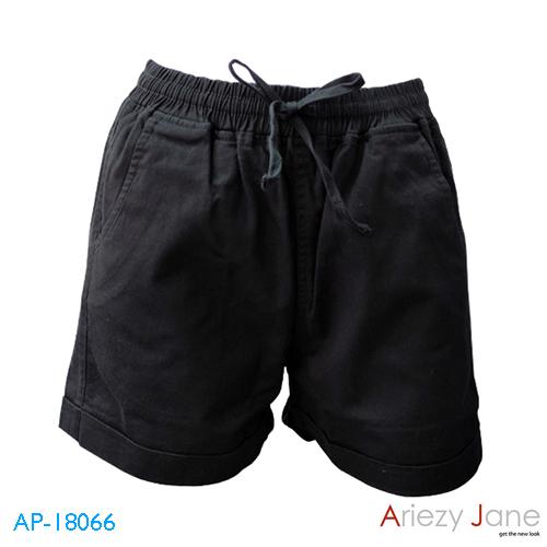 กางเกงขาสั้นผูกเอว ผ้าญี่ปุ่น สีดำ AP-18066 A