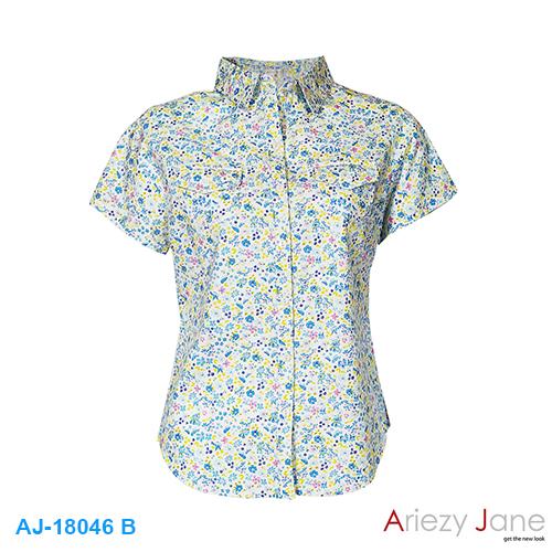 เสื้อเชิ้ต แขนสั้น ลายดอก สีฟ้า AJ-18046-B