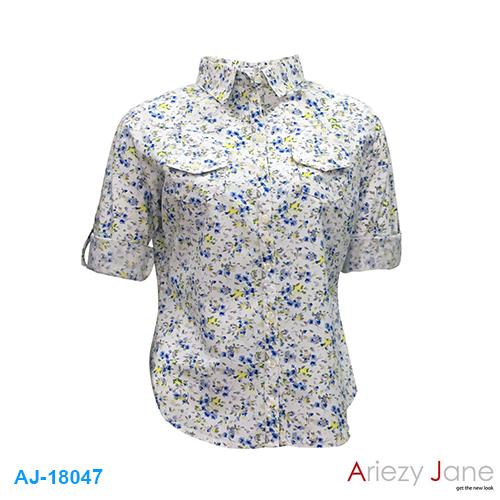 เสื้อเชิ้ต แขน 3 ส่วน ลายดอก AJ-18047