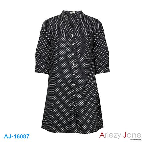 ชุดกระโปรง ผ้าค็อตต้อน ดำจุดขาว AJ-16087