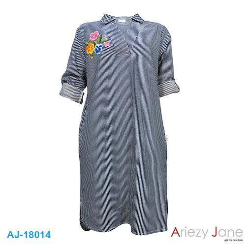 ชุดกระโปรง ลายริ้ว ปักดอกไม้ AJ-18014