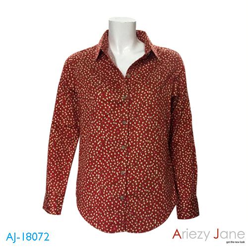 เสื้อเชิ้ต แขนยาว ลายดอกไม้ สีแดง AJ-18072 B