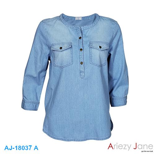 เสื้อยีนส์ แชมเบ้ แขน 3 ส่วน AJ-18037A