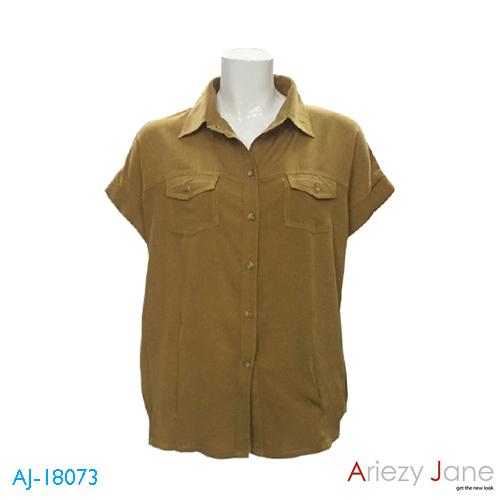 เสื้อเชิ้ตแขนสั้น ผ้าเรยอง สีน้ำตาล AJ-18073 A