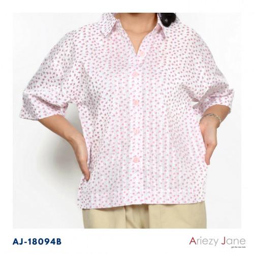 เสื้อเชิ้ตแขนสั้นไหล่สโลปผ้าซาตินพิมพิ์ลายริ้วพื้นและลายดอกสีชมพู ไซส์ M, L AJ-18094