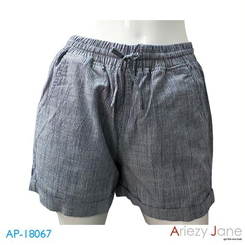 กางเกงขาสั้นผูกเอว พับขา ริ้วเล็ก AP-18067