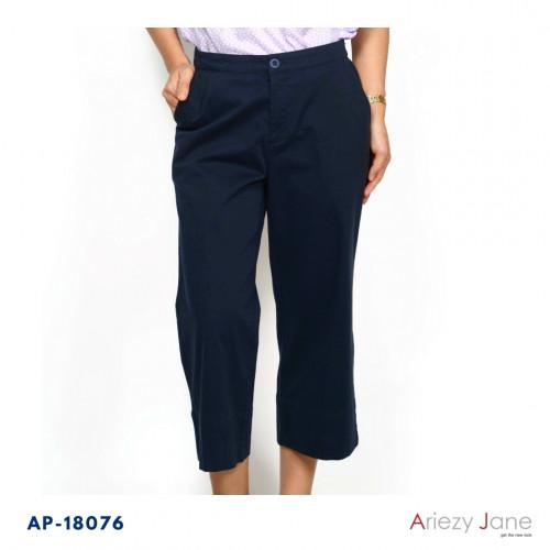 กางเกงขาบานเอวขอบหน้ายางหลัง กระเป๋าคู่หน้า ผ้าญี่ปุ่นค้อตต้อนสแปนเด็กซ์ AP-18076 Ankle Pant