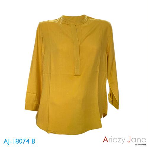เสื้อคอจีน เจาะสาป แขนยาว สีเหลือง AJ-18074 B