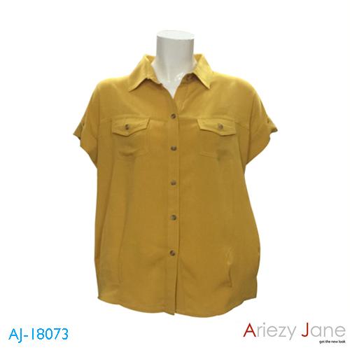 เสื้อเชิ้ตแขนสั้น ผ้าเรยอง สีเหลือง AJ-18073 B