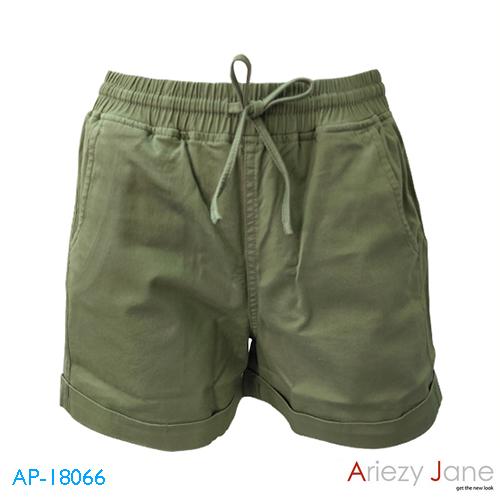 กางเกงขาสั้นผูกเอว ผ้าญี่ปุ่น สีเขียว AP-18066 B