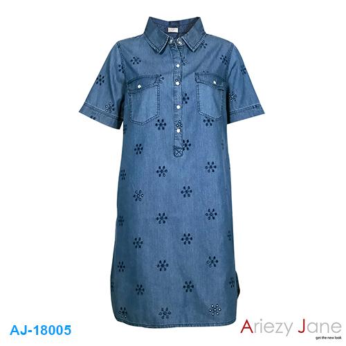 ชุดกระโปรง ยีนส์ แชมเบ้ ลายฉลุ AJ-18005