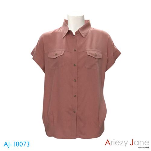 เสื้อเชิ้ตแขนสั้น ผ้าเรยอง สีชมพูอิฐ AJ-18073 C