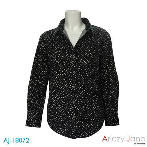 เสื้อเชิ้ต แขนยาว ลายดอกไม้ สีดำ AJ-18072 A