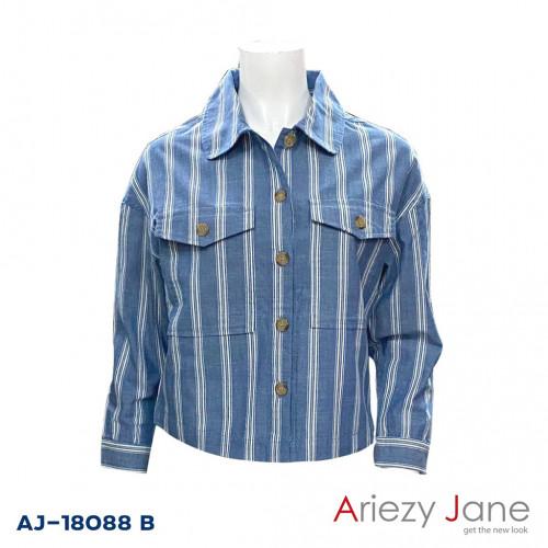 แจ็กเก็ตทรงสั้นลายริ้วยีนส์  AJ-18088 B
