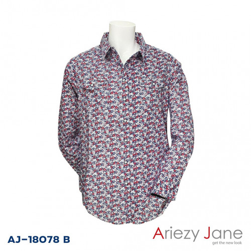 เสื้อเชิ้ตแขนยาว ลายดอกสีแดง  AJ-18078 B