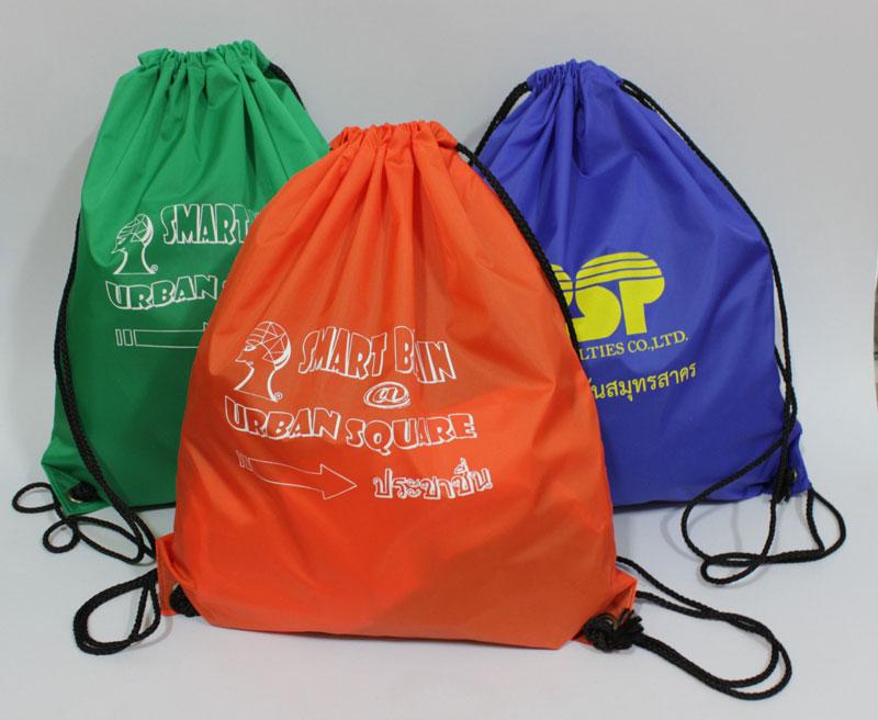 กระเป๋า เป้ผ้าร่มหูรูด สะพายหลัง ผ้าร่มกันน้ำ งาน BSP