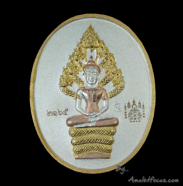 เหรียญนาคปรกไตรมาส หลวงพ่อสาคร พิมพ์ใหญ่ เนื้อสามกษัตริย์ ออกวัดหนองกรับ ปี 2551 หมายเลข 2165