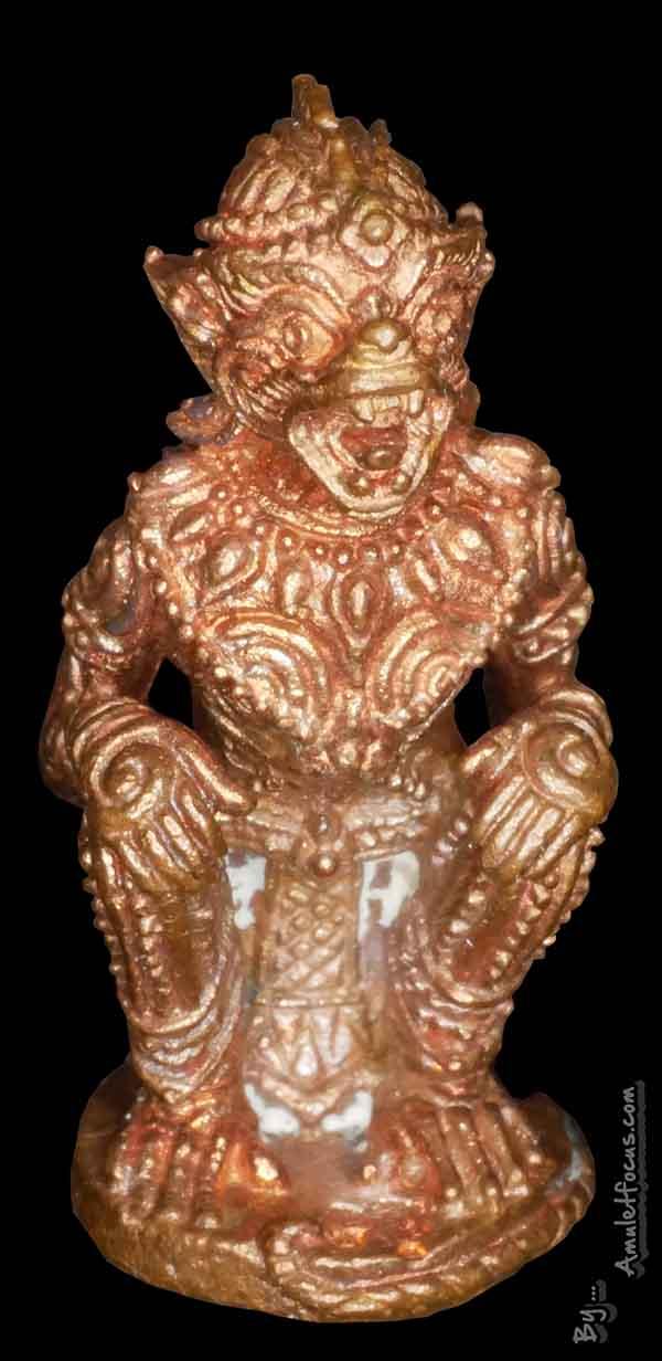 หนุมาน รุ่น มหาปราบไตรจักร ลพ.สาคร ออกปี 55 เนื้อชนวนทองแดง ก้นอุดผง No.7435 1