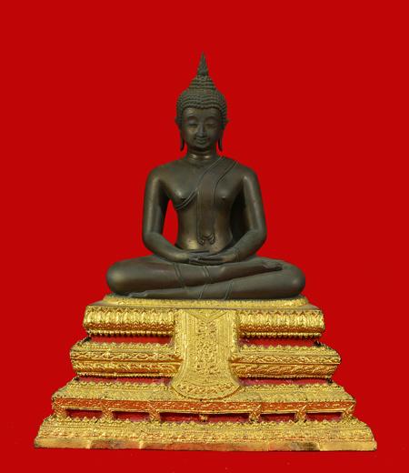 พระบูชา พระประธานวัดระฆังรุ่น 100 ปี ยิ้มรับฟ้า พ.ศ.2515 ตัก 9 นิ้ว เนื้อโลหะ ในหลวงร 9เสด็จฯเททอง