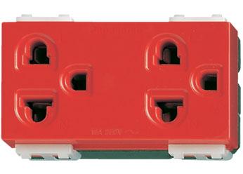 WEG15929R เต้ารับคู่ เสียบขากลมแบนมีกราวด์ สีแดง16A250V