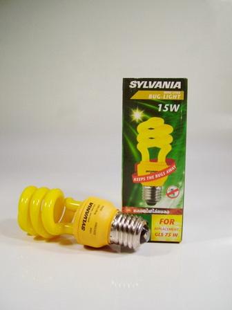 หลอดประหยัดไฟไล่ยุง 15วัตต์ แสงเหลือง ขั้วE27 ยี่ห้อ ซิลวาเนีย