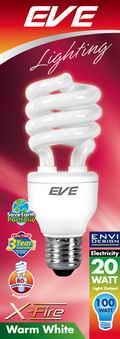 หลอดประหยัดไฟ20วัตต์อีฟ แสงวอล์มไวท์ ขั้วE27_EVE X-FIRE 20W warmwhite E27