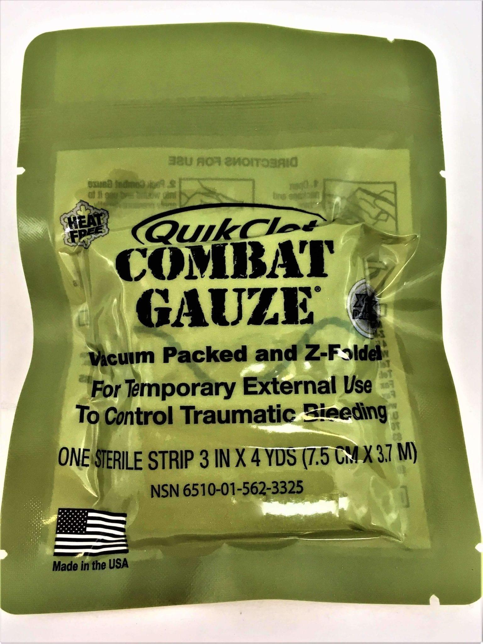 QuikClot Combat Gauze ผ้าก๊อซพร้อมสารห้ามเลือด