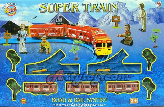 รถไฟวิ่งราง Super Train สามารถเปลี่ยนรูปแบบรางได้หลายแบบ แถมตุ๊กตาเด็กและอุปกรณ์ประกอบฉาก
