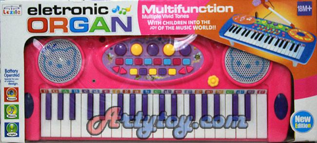 อิเล็กโทรนิกส์ออแกน(UEN)  สีสันสวยสดใส  พร้อมไมค์ สามารถเล่นได้หลายฟังก์ชั่น