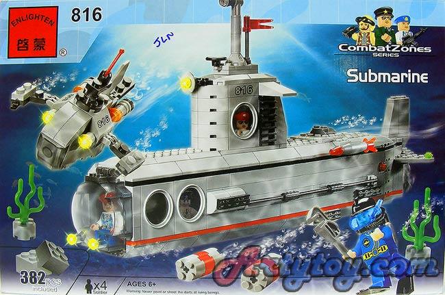 ตัวต่อเรือดำน้ำ Submarine(JLN) พร้อมเรือดำน้ำสำเล็กเคลื่อนที่เร็ว  จากค่าย ENLIGHTEN จำนวน 382 ชิ้น