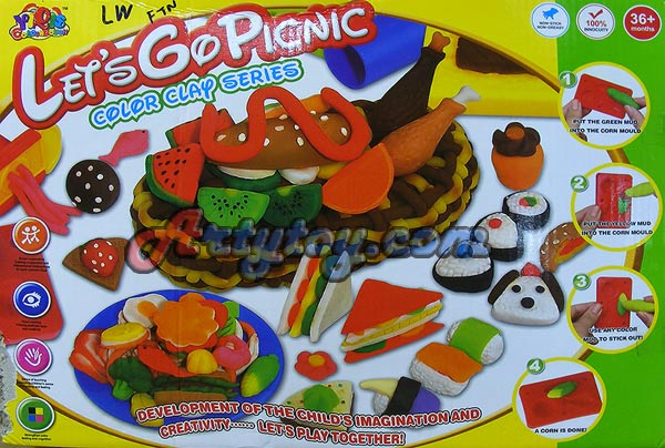 Color Clay ชุด Picnic Party(FTN) แป้งโดหลากสีสำหรับปั้นเล่นตามจินตนาการ พร้อมบล๊อกพิมพ์