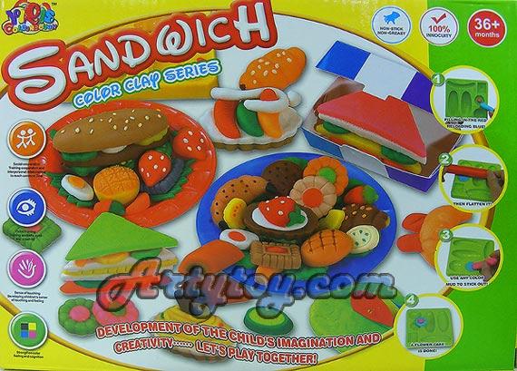 Color Clay ชุดแซนวิช(ZAN) แป้งโดหลากสีสำหรับปั้นเล่นตามจินตนาการ พร้อมบล๊อกพิมพ์
