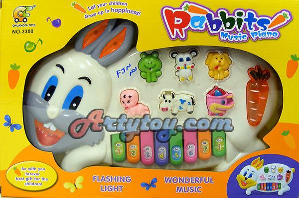 Rabbit Music Piano (FJN) ออร์แกนรูปกระต่าย น่ารักมีเสียงดนตรี เสียงสัตว์ และมีไฟกระพริบ