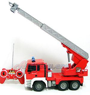 Double-E Fire Truck (FNUN) รถดับเพลิงบังคับวิทยุไร้สาย แบตชาร์ต ยืดกระเช้าได้ หมุนได้ มีไฟมีเสียง