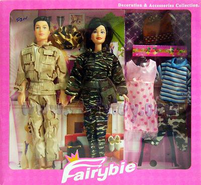 Fairybie (FJN) ตุ๊กตาบาร์บี้ทหาร 2 ตัว ผู้ชายผู้หญิง พร้อมชุดเปลี่ยน