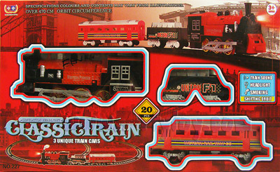 รถไฟหัวจักร Classic  Train(UBN) มี 2 โบกี้พ่วง  มีไฟ มีเสียง และควันเหมือนจริง