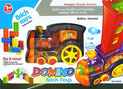 Domino Train (FAN) ของเล่นรถไฟเรียงตัวต่อโดมิโน่ 64 ชิ้น สีสันสดใส มีไฟหน้า