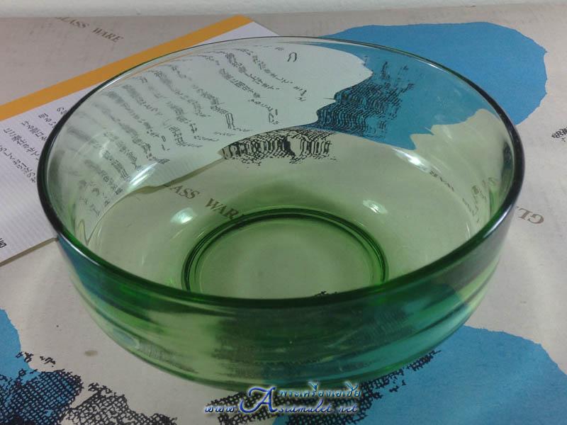 ถ้วยแก้วใสสีเขียว SOGA GLASS ขนาดเส้นผ่าศูนย์กลาง 5.5 นิ้ว x สูง 2 นิ้ว