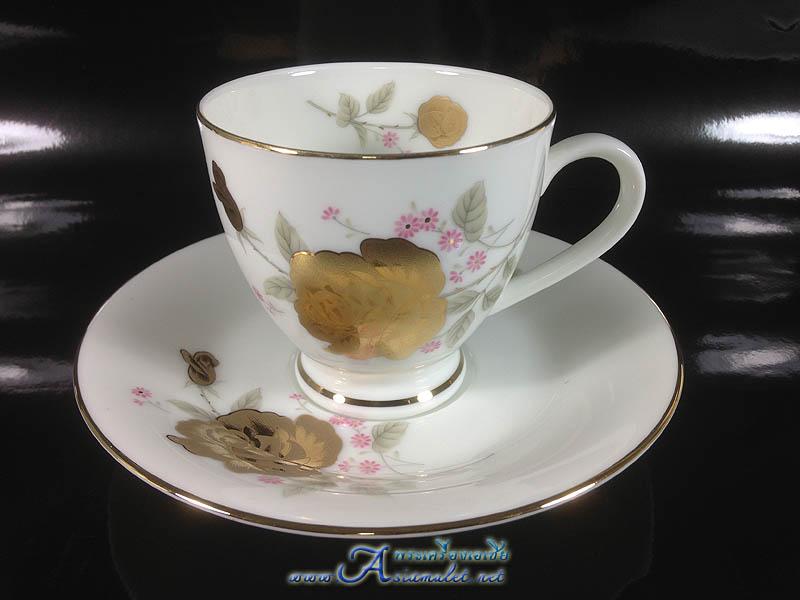 ชุดแก้วเซรามิค ลายดอกกุหลาบสีทอง