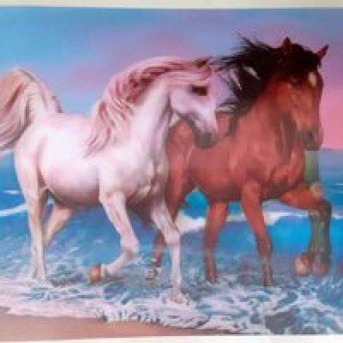 ภาพ3มิติ ม้าคู่มงคล มาเป็นคู่ ช่วยเกื้อหนุนกันทำมาหากิน รวมกันเป็นหนึ่งเพื่อความเจริญก้าวหน้า